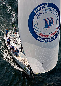 Aerial view of yacht under spinnaker during the New York Yacht Club Invitational Cup, Newport, Rhode Island, September 2011. All non-editorial uses must be cleared individually.  -  Onne van der Wal