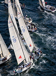Aerial view of yachts racing in the New York Yacht Club Invitational Cup, Newport, Rhode Island, September 2011. All non-editorial uses must be cleared individually.  -  Onne van der Wal