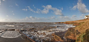Slipway at Hilbre Point, locally known as Red Rocks, looking out to Hilbre Island with North Wales in the background. Hoylake, Wirral, Merseyside, England, November 2011. - Graham Brazendale