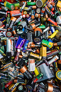 Close up of disposable batteries at a recycling centre, Stroud, Gloucestershire, UK, February 2008.  -  Nick Turner