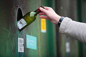 Person putting a green glass bottle into a recycling bank at a recycling centre, Stroud, Gloucestershire, UK, February 2008.  -  Nick Turner