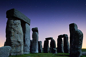 Close up of Stonehenge stones at night, Wiltshire, England, Uk, September 2009. - Nick Turner