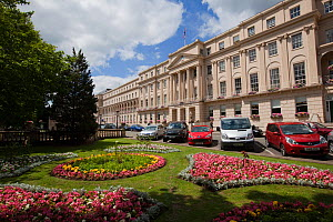The Promenade building with formal  flowerbeds outside the front entrance, Cheltenham, Gloucestershire, UK, July 2011. - Nick Turner