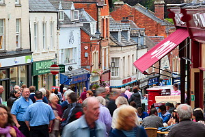 People in busy shopping street on market day, Stroud Town Centre, Gloucestershire, UK, August, 2011.  -  Nick Turner