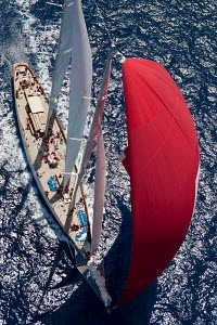 Aerial view of 'Adela' under spinnaker during the Superyacht Cup Palma, Mallorca, Spain, June 2011. All non-editorial uses must be cleared individually. - Ingrid Abery