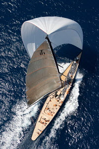Aerial view of 'Firefly' under spinnaker during the Superyacht Cup Palma, Mallorca, Spain, June 2011. All non-editorial uses must be cleared individually.  -  Ingrid Abery