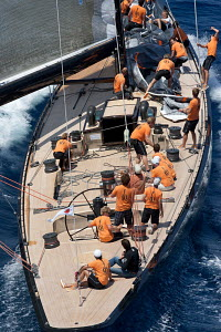 Aerial view of action on board 'Firefly' during the Superyacht Cup Palma, Mallorca, Spain, June 2011. All non-editorial uses must be cleared individually. - Ingrid Abery