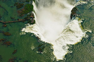 Aerial view of the Iguazu Falls waterfalls on the border between Brazil and Argentina, August 2008. - Chris Schmid