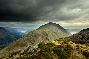 View from the summit of Haystacks towards High Crag, Lake District NP, Cumbria, England, UK, November, with storm sky dark clouds - Ben Hall / 2020VISION