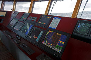 Sonar and navigation instruments on the bridge of the pelagic trawler 'Charisma', Shetland Isles, Scotland, UK, October 2011 - Chris Gomersall / 2020VISION