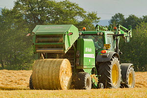 Baling machine ejecting a bale of Barley straw on arable farmland, Scotland, UK, September  -  Mark Hamblin / 2020VISION