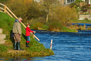 Family fishing from the bank of the River Tweed at Junction Pool, Kelso, Roxburghshire, Scotland, UK, October 2011  -  Rob Jordan / 2020VISION