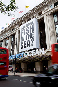A large banner with words 'no more fish in the sea?', part of Selfridges Project Ocean, displayed on their Oxford Street store, London, England, UK, May 2011. Editorial use only.  -  Toby Roxburgh / 2020VISION