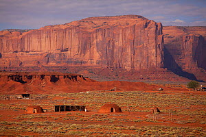 Typical Navajo homestead with hogans - traditional dwellings. Monument Valley, Arizona, September 2011. - Charlie Summers