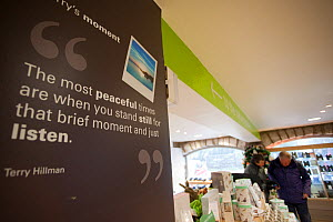 Shop and advertising at at RSPB Leighton Moss visitor centre, showing benefits of wildlife tourism, Morecambe Bay, Cumbria, England, UK, February - Peter Cairns / 2020VISION