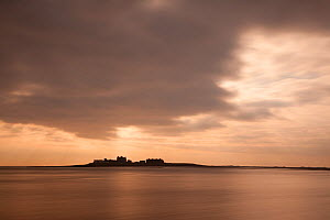 Piel Island silhouetted on the horizon, Morecambe Bay, Cumbria, England, UK, Februay - Peter Cairns / 2020VISION