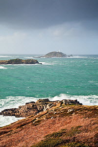 Looking out over Round Island Lighthouse on a stormy day on St. Martin's, Isles of Scilly, UK, January 2012.  -  Merryn Thomas