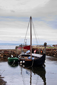 Viking replica ship moored in tiny harbour, Corrie, Arran, Scotland, August 2011. - Merryn Thomas