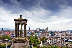 Dugald Stewart Monument, Calton Hill, with the city of Edinburgh beyond. Scotland, September 2011. - Merryn Thomas