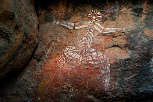 Aboriginal Rock Art / depicting human figure / Anbangbang Gallery / Nourlangie Range / Kakadu National Park, Northern Territory, Australia - Ingo Arndt