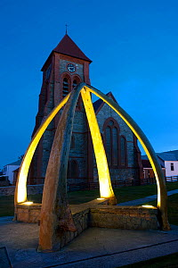 Port Stanley Christ Church Cathedral with Whale Bone Arch, erected in 1933 to celebrate a century of British rule, Falkland Islands, February 2011  -  Ingo Arndt