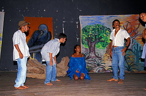 Drama group acting out the story of the Critically endangered Spix's macaw (Cyanopsitta spixii) to children near Curaca, Bahia, Brazil, where the last known wild individuals were seen.  -  Roland Seitre