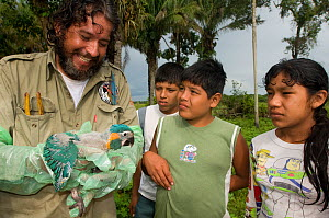 Conservation officer, Hernan Vargas Ayala, examines growing chick from nestbox of Blue throated / Wagler's macaw (Ara glaucogularis) and shows it to group of children, Trinidad, Beni, Bolivia, Critica...  -  Roland Seitre