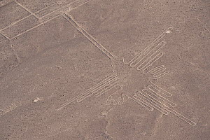 'The Hummingbird', one of the patterns of the Nazca Lines. These are lines and patterns made around 300-600 AD by removing stones from the desert floor to expose the ground beneath. Their purpose rema...  -  Roland Seitre