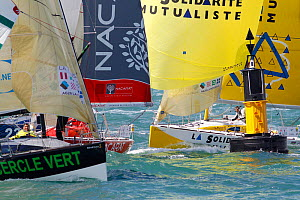 Yachts rounding mark at the start of La Transat AG2R La Mondiale, Brittany, France, April 2012. All non-editorial uses must be cleared individually.  -  Benoit Stichelbaut