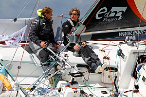 Amaiur Alfaro and Christophe Lebas on board 'Pays basque Entreprise' at the start of La Transat AG2R La Mondiale, Concarneau, Brittany, France, April 2012. All non-editorial uses must be cleared indiv...  -  Benoit Stichelbaut