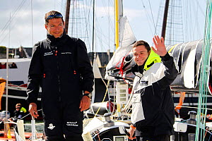 Anthony Marchand and Romain Attanasio prior to the start of La Transat AG2R La Mondiale, Concarneau, Brittany, France, April 2012. All non-editorial uses must be cleared individually.  -  Benoit Stichelbaut
