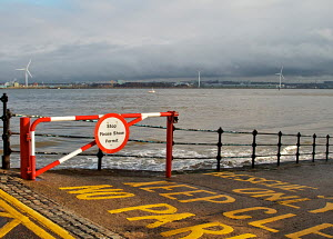 Access sign to slipway at New Brighton, Merseyside, England, January 2012. - Norma Brazendale