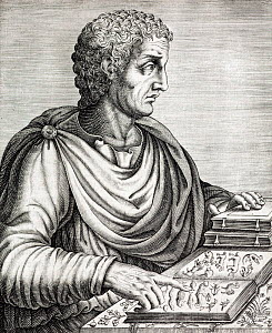 Portrait of Gaius Plinius Secundus, army commander, naturalist and author (23AD to 25 August 79AD). Copperplate engraving from Andre Thevet's 'Portraits et vies des hommes illustres' publ Guillaume Ch...  -  Paul D Stewart