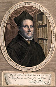 Portrait of Athanasius Kircher, Jesuit scholar 1602-1680, coloured copper engraving of the author from Mundus Subterraneus (1664). Kircher worked and published across a remarkable range of fields, and...  -  Paul D Stewart