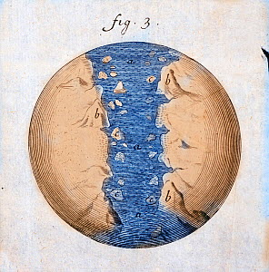 Illustration with later hand colouring from Thomas Burnet's 'The Sacred Theory of the Earth' 1684. In it he postulates how the 'perfect' featureless earth of the creation is transformed by waters unle...  -  Paul D Stewart