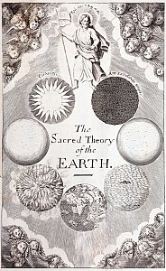 Illustration frontispiece from Thomas Burnet's 'The Sacred Theory of the Earth' 1684, the most popular geological work of the 17th century. Christ stands aside the full cycle of creation with the epit...  -  Paul D Stewart
