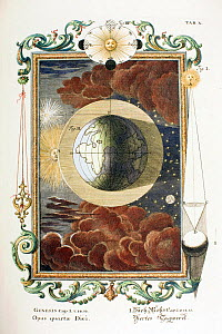 1731 Physica Sacra (Sacred Physics) by Johann Scheuchzer (1672-1733) the fourth day of creation folio copper engraving (with later hand colouring) drawn by a team of engravers under the direction of J...  -  Paul D Stewart
