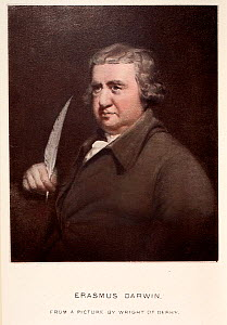 Portrait of Erasmus Darwin (1731-1802) from a picture by Wright of Derby, reproduced with later hand colouring by his grandson, Charles Darwin in 'Life of Erasmus Darwin' 1879 (Ernst Krause co-author)...  -  Paul D Stewart