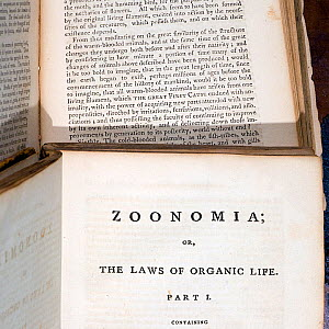 First edition of Erasmus Darwin's 'Zoonomia', Part 1 'The Laws of Organic Life' with section revealing his remarkably prescient 'world without end' text on evolution. Erasmus Darwin was Charles Darwin...  -  Paul D Stewart
