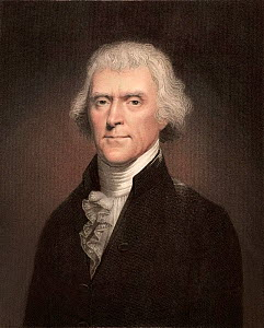 Portrait of Thomas Jefferson, polymath, American Founding Father and President (b. 13 April 1743 - d. 4 July 1826). Engraving by W.Holl in 'The Gallery of Portraits' 1837 with later colouring, after p...  -  Paul D Stewart