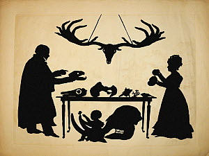 Silhouette first produced by Auguste Edouart of 'William Buckland and his Wife and Son Frank, Examining Buckland's Natural History Collection. The original is in the Museum of Fine Arts in Boston. Thi...  -  Paul D Stewart
