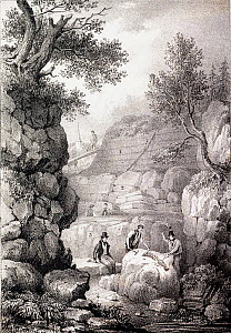 Illustration of 'Strata of Tilgate Forest in Surrey' showing Gideon Mantell (seated) while two workmen excavate a partly exposed fossil spine of Iguanodon. The strata are labelled as: 1 Loam, 2 Sand a...  -  Paul D Stewart