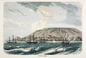 Illustration of 'Albemarle Island' (now Isabela) engraving by Huyot and Bepard facing page 520 in 'All Around the World' published in 1872 by William Collins & Son. Shows the large caldera of a volcan...  -  Paul D Stewart