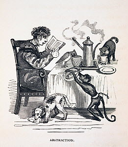 Illustration from 'The Anniversary of the Literary Fun 1836' by Thomas Hood, published by Baily and Co, Cornhill. The reputation of academics for absent mindedness, eccentricity, and absorbtion in the...  -  Paul D Stewart