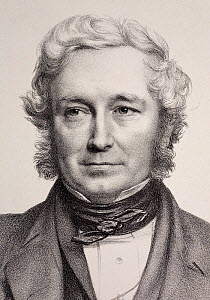 1849 portrait of John Stevens Henslow (6 February 1796-16 May 1861), crop of lithographic portrait from life by Thomas Herbert Maguire as part of the Friends of the Ipswich Museum scientific portrait...  -  Paul D Stewart
