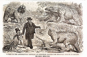 1855 Cartoon from Punch's Almanac of that year, ascribed to John Leech, captioned 'A visit to the antediluvian reptiles at Sydenham - master Tom strongly objects to having his mind improved'. Clockwis...  -  Paul D Stewart