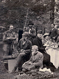 Two of Darwin's staunchest supporters in the field during a trip to the Rockies in 1877. Centre (seated) British botanist Joseph Dalton Hooker, the director of Kew and one of Charles Darwin's close fr...  -  Paul D Stewart