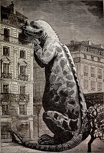 Illustration from Flammarion's 'Le Monde avant la Creation de l'Homme'. This is the first dinosaur (Iguanodon) reconstruction to put them in a modern context to show their size. In this case getting a...  -  Paul D Stewart