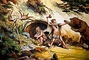 Illustration of cave man protects his mate and child from a marauding cave bear. He wields a hafted axe (from a later period) before a trophy skull of irish elk. Vivid colour lithograph from 'Dr. Schu...  -  Paul D Stewart