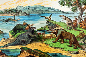 19th century lithograph illustration of a Jurassic landscape including the dinosaurs: Megalosaurus (1), Iguanodon (2 with incorrect nose spike), Hylaeosaurus (3 with incorrect orientation of spines) L...  -  Paul D Stewart